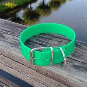 Collar Biothane verde oscuro ancho cinta 3,8 cm hebilla rulo