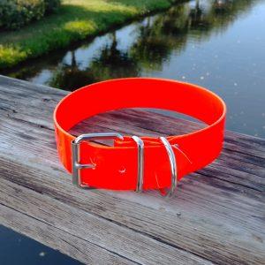 Collar Biothane naranja ancho cinta 3,8 cm hebilla rulo
