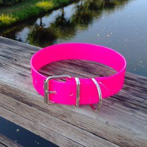 Collar Biothane rosa ancho cinta 3,8 cm hebilla rulo