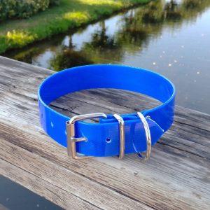Collar Biothane azul oscuro ancho cinta 3,8 cm hebilla rulo